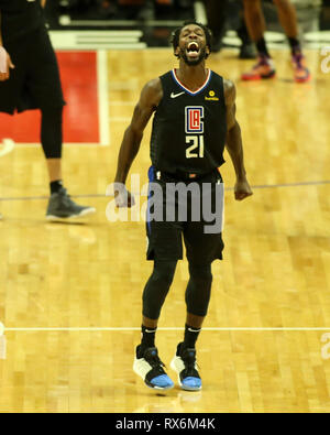 Los Angeles, CA, USA. 8th Mar, 2019. LA Clippers guard Patrick Beverley #21 yells during the Oklahoma City Thunder vs Los Angeles Clippers at Staples Center on March 8, 2019. (Photo by Jevone Moore) Credit: csm/Alamy Live News - Stock Photo