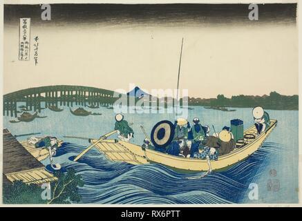 Viewing Sunset over the Ryogoku Bridge from the Onmaya Embankment (Onmayagashi yori Ryogokubashi sekiyo o miru), from the series 'Thirty-six Views of Mount Fuji (Fugaku sanjurokkei)'. Katsushika Hokusai ?? ??; Japanese, 1760-1849. Date: 1825-1838. Dimensions: 10 x 14 3/4 in. Color woodblock print; oban. Origin: Japan. Museum: The Chicago Art Institute. - Stock Photo