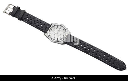 Automatic 21 jewels Seiko 5 watch from the 1970s with new leather strap added - Stock Photo