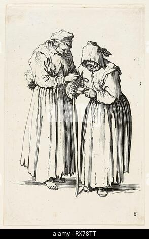 Two Women Beggars, plate eight from The Beggars. Jacques Callot; French, 1592-1635. Date: 1617-1627. Dimensions: 139 × 87 mm (plate); 141 × 91 mm (sheet). Etching on paper. Origin: France. Museum: The Chicago Art Institute. - Stock Photo