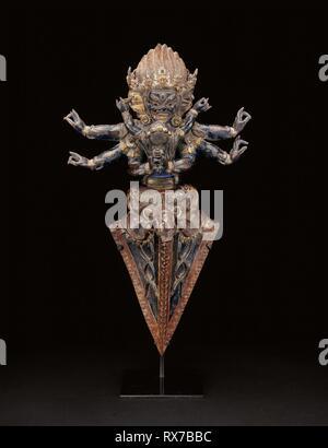 Personified Ritual Dagger (Vajrakila) in Ritual Embrace (Yab-yum). Tibet. Date: 1501-1600. Dimensions: 43.1 x 24.8 x 10.3 cm (17 x 9 3/4 x 4 1/16 in.). Copper repoussé over wood. Origin: Tibet. Museum: The Chicago Art Institute. - Stock Photo