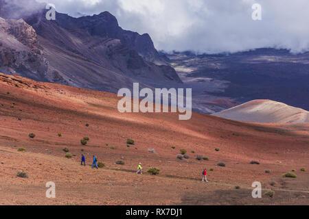 crater hiking trail, volcano,  Mount Haleakala, Haleakalā National Park, Maui, Hawaii - Stock Photo