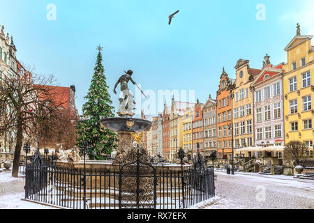 Christmas Gdansk, the Neptune's Fountain in Long market, no people - Stock Photo