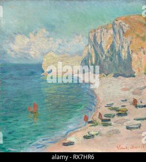 Étretat: The Beach and the Falaise d'Amont. Claude Monet; French, 1840-1926. Date: 1885. Dimensions: 69.3 × 66.1 cm (27 1/4 × 26 in.). Oil on canvas. Origin: France. Museum: The Chicago Art Institute. - Stock Photo