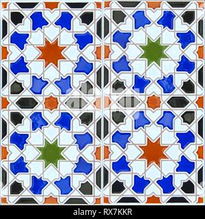 Seamless ceramic tile in the Spanish Andalusian style suitable for a background pattern - Stock Photo