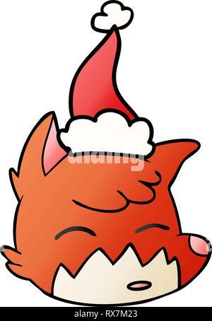 hand drawn gradient cartoon of a fox face wearing santa hat - Stock Photo