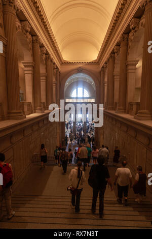 Stairs to the Great Hall in the Metropolitan Museum of Art, Manhattan, New York USA - Stock Photo