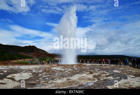 Strokkur geyser erupting in Haukadalur valley, Iceland. - Stock Photo