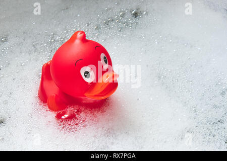 Red toy rubber duck among the soap bubbles in the bath - Stock Photo