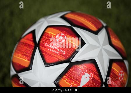 Close up of Adidas UEFA Champions League Final Football. Madrid 2019. - Stock Photo
