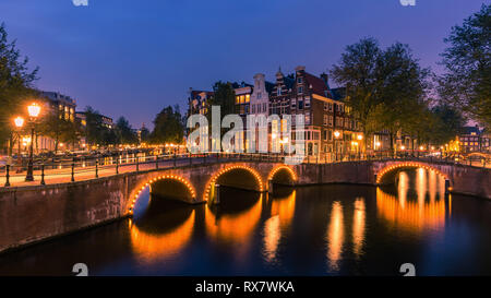 An evening in Amsterdam with the view from the Keizersgracht. - Stock Photo