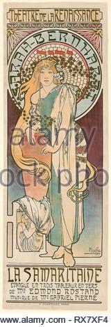 La Samaritaine. Alphonse Marie Mucha; Czech, 1860-1939. Date: 1897. Dimensions: 1,752 × 597 mm (sheet). Color lithograph from multiple stones on paper. Origin: Czech Republic. Museum: The Chicago Art Institute. - Stock Photo