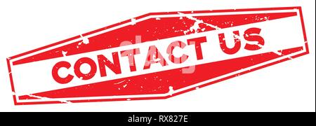 Grunge red contact us word hexagon rubber seal stamp on white background - Stock Photo