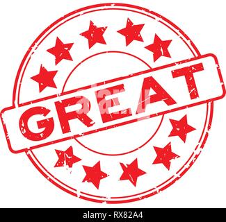 Grunge red great word with star icon round rubber seal stamp on white background - Stock Photo