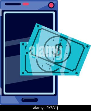 bills dollar with smartphone vector illustration design - Stock Photo