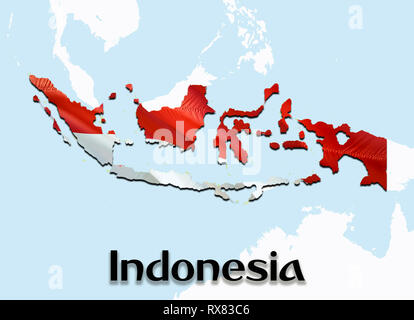Flag Map of Indonesia. 3D rendering Indonesia map and flag on Asia map. The national symbol of Indonesia. Jakarta flag map background image download H - Stock Photo
