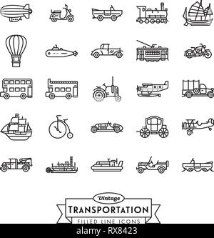 Collection of vintage transportation vehicles vector icons. Flat Outline Style. - Stock Photo