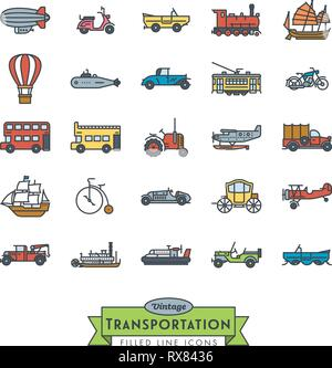 Collection of vintage transportation vehicles vector icons. Filled Outline Style. - Stock Photo