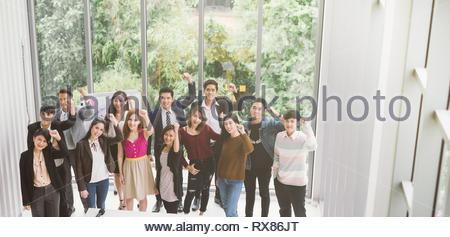 Group of asian business team raising arms success achievement Concept - Stock Photo