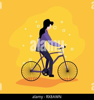 young woman riding bicycle activity vector illustration - Stock Photo