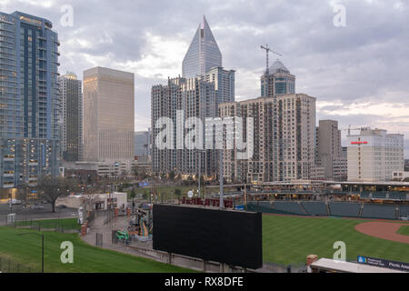 Charlotte, USA - February 24, 2019: View into the Jerry Richardson Stadium at the University of North Carolina in Charlotte, USA. - Stock Photo