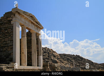 Ancient Greek architecture on the island of Delos off the coast of Mykonos, Greece - Stock Photo