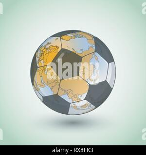 Football world continent map. Vector territory scheme made from soccer ball - Stock Photo