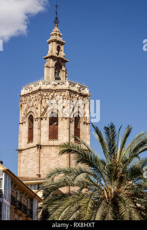 Cathedral Tower Valencia, medieval El Micalet tower, Plaza de la Reina, Old Town, Spain - Stock Photo