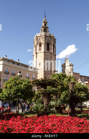 Valencia Cathedral Tower, medieval El Micalet tower from  Plaza de la Reina Valencia, Old Town, Spain - Stock Photo