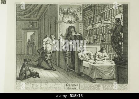 Hudibras and the Lawyer, plate twelve from Hudibras. William Hogarth; English, 1697-1764. Date: 1725-1726. Dimensions: 245 × 344 mm (image); 270 × 353 mm (plate); 272 × 356 mm (primary support); 368 × 476 mm (secondary support). Etching and engraving in black on cream paper edge, mounted on cream wove paper. Origin: England. Museum: The Chicago Art Institute. - Stock Photo