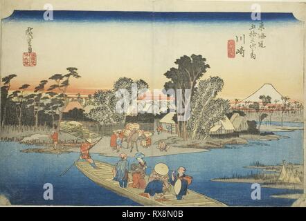 Kawasaki: The Rokugo Ferry (Kawasaki, Rokugo watashibune), from the series 'Fifty-three Stations of the Tokaido (Tokaido gojusan tsugi no uchi),' also known as the Hoeido Tokaido. Utagawa Hiroshige ?? ??; Japanese, 1797-1858. Date: 1828-1839. Dimensions: 24.2 x 36 cm (9 1/2 x 14 3/16 in.). Color woodblock print; oban. Origin: Japan. Museum: The Chicago Art Institute. - Stock Photo