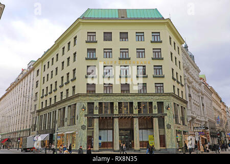 VIENNA, AUSTRIA - JANUARY 8, 2019: Facade of the Looshaus, designed by architect Adolf Loos, in Vienna, now housing a branch of the Raiffeisen Bank - Stock Photo