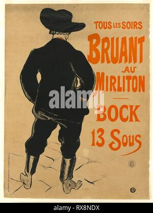 Aristide Bruant. Henri de Toulouse-Lautrec; French, 1864-1901. Date: 1893. Dimensions: 815 × 585 mm (image); 817 × 608 mm (primary support); 834 × 626 mm (secondary support). Color lithograph poster on tan wove paper, laid down on white wove Japan tissue. Origin: France. Museum: The Chicago Art Institute. - Stock Photo
