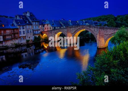 old bridge vieux pont, over Lot River, Espalion, Aveyron Department, Occitane, France - Stock Photo