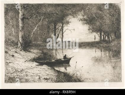 Fisherman in a Boat at the Riverside. Adolphe Appian; French, 1818-1898. Date: 1887. Dimensions: 315 × 463 mm (image); 346 × 485 mm (sheet). Etching with monotype printing in black ink on ivory laid paper. Origin: France. Museum: The Chicago Art Institute. - Stock Photo
