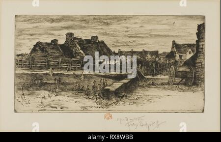 The Large Thatched Cottages. Félix Hilaire Buhot; French, 1847-1898. Date: 1881. Dimensions: 139 × 273 mm (plate); 310 × 445 mm (sheet). Etching and drypoint on ivory laid paper. Origin: France. Museum: The Chicago Art Institute. - Stock Photo