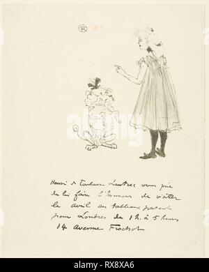 Invitation to an Exhibition. Henri de Toulouse-Lautrec; French, 1864-1901. Date: 1898. Dimensions: 218 × 139 mm (image); 265 × 214 mm (sheet). Lithograph on cream wove paper. Origin: France. Museum: The Chicago Art Institute. - Stock Photo