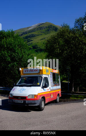 Ice cream van parked with no one at it during sunny summer weather in the scottish highlands, glen nevis fort william scotland uk - Stock Photo