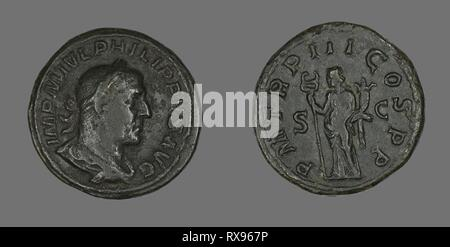Sestertius (Coin) Portraying King Philip I. Roman. Date: 246 AD. Dimensions: Diam. 3.1 cm; 24.19 g. Bronze. Origin: Rome. Museum: The Chicago Art Institute. Author: ANCIENT ROMAN. - Stock Photo