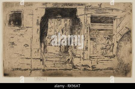 The Fish Shop, Venice. James McNeill Whistler; American, 1834-1903. Date: 1879-1880. Dimensions: 129 x 224 mm (plate); 136 x 224 mm (sheet). Etching and drypoint with foul biting in black ink on ivory laid paper. Origin: United States. Museum: The Chicago Art Institute. - Stock Photo