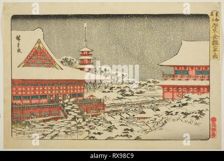 Year-end Fair at Kinryuzan Temple in Asakusa (Asakusa Kinryuzan toshi no ichi), from the series 'Famous Places in the Eastern Capital (Toto meisho)'. Utagawa Hiroshige ?? ??; Japanese, 1797-1858. Date: 1830-1843. Dimensions: . Color woodblock print; oban. Origin: Japan. Museum: The Chicago Art Institute. - Stock Photo
