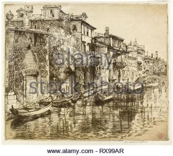Venetian Noontide. Donald Shaw MacLaughlan; American, born Canada, 1876-1938. Date: 1912. Dimensions: 248 x 298 mm (image/plate); 260 x 306 mm (sheet). Etching in sepia on cream laid paper. Origin: United States. Museum: The Chicago Art Institute. - Stock Photo