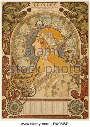 Zodiaque ('La Plume'). Alphonse Marie Mucha; Czech, 1860-1939. Date: 1896-1897. Dimensions: 630 × 470 mm. Color lithograph from multiple stones on tan wove paper. Origin: Czech Republic. Museum: The Chicago Art Institute. - Stock Photo