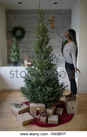 Young woman on box reaching to place star on christmas tree - Stock Photo
