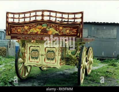 Gypsy wagon base, beautifully hand painted and embellished with gold leaf. The base was delivered to a wagon builder in Ryton, Northumberland, he constructed a bow top for the trolley. - Stock Photo