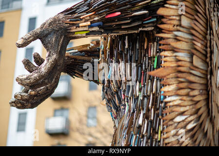 HULL, ENGLAND - MARCH 2ND, 2019: An Angel made out of knives stands in Hull - Stock Photo