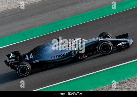 Barcelona, Spain. 20th February, 2019 - Lewis Hamilton (44) with Mercedes AMG F1 Team Mercedes W10 driving on track of F1 Winter Testing. - Stock Photo