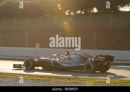 Barcelona, Spain. 18th February, 2019 - Lewis Hamilton (44) with Mercedes AMG F1 Team Mercedes W10 driving on track day 1 of F1 Winter Testing. - Stock Photo