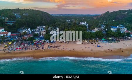 Sunset in Unawatuna, Sri Lanka. - Stock Photo