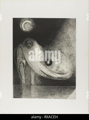 The Buddha. Odilon Redon; French, 1840-1916. Date: 1895. Dimensions: 315 × 250 mm (image); 330 × 261 mm (stone); 441 × 348 mm (sheet). Lithograph in black on cream China paper laid down on ivory wove paper. Origin: France. Museum: The Chicago Art Institute. - Stock Photo